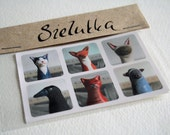 EXPIRATION SALE until DEC 25 Animal stickers - clay figurines - 2 sheets of six