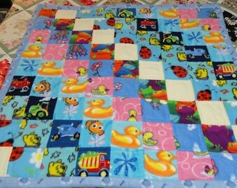 Blue fleece extra warm and soft baby blanket 44 x 45