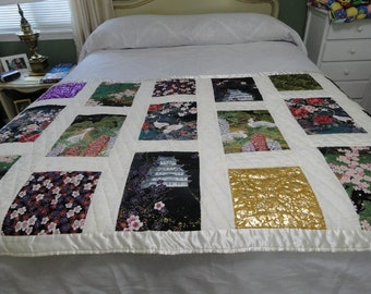 hand quilted Oriental lap quilt