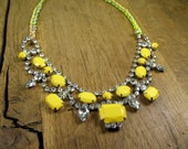 Romantic Neon Crystal Yellow Tear Drop Bib with Braided Rainbow/Chain/Neon Necklace