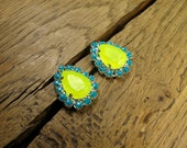 Neon Yellow with Turquoise Pave Crystal Teardrop Silver Plated Stud Earrings