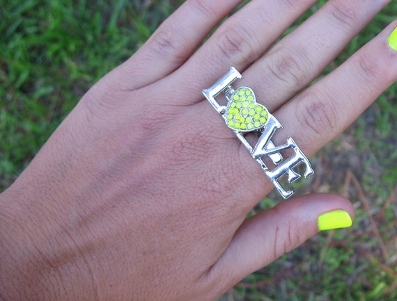 Antiqued Silver LOVE Double Ring with Painted Neon Yellow Crystal Heart, Sz 7