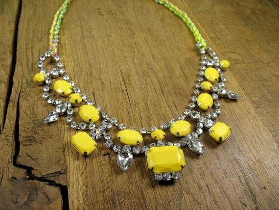 Romantic Neon Crystal Yellow Tear Drop Bib with Braided Rainbow/Chain/Neon Necklace