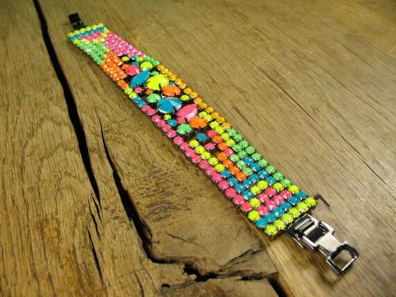 Funky Neon Rainbow Digital Asymmetrical Bracelet In Hematite Gun Metal Plating