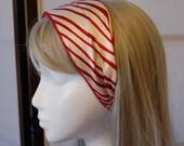 Vintage Secretary Tie / Long Scarf / Belt  - White and Red Geometric Stripes