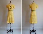 Vintage 1940s THE FETE CHAMPETRE vanilla custard dress