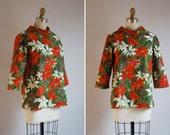 SALE / vintage poinsettia blouse / 1960s / Poinsettia Top