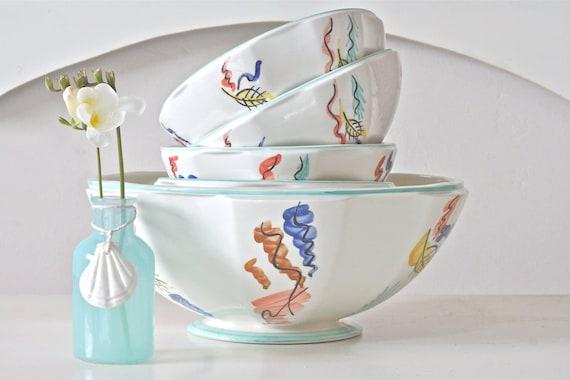 Set of 6 Bowls - French Cafe Au Lait Bowls, Soup Bowls, Salad Bowls, Ice Cream Bowls - SALE (WAS 39.00)
