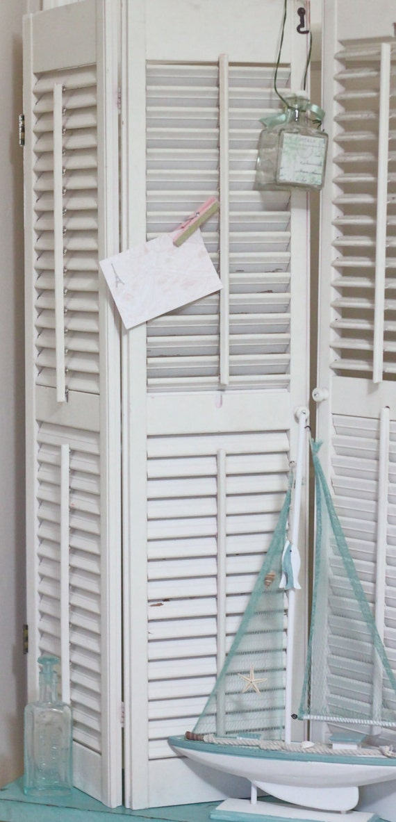 Pair of Old Shutters - Shabby White