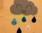 Rain Cloud on canvas tote bag purse