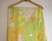 RESERVED for snarlsie -- Citrus Splash Sheet. Yellow, Green, Orange Vintage Floral Fabric.