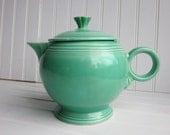 SALE Fiestaware Teapot, Vintage Mint Green 1940s large teapot Fiesta Ware