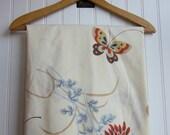 Butterflies Floral Sheet. Vintage Orange, blue, Red, Khaki Floral Fabric. Percale.
