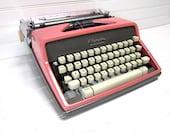 Vintage Typewriter Pink Olympia SM 9 DeLuxe Manual Typewriter