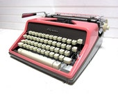 RESERVED for Stephalex3006 -- Vintage Typewriter CURSIVE Pink Olympia SM 9 DeLuxe Manual Typewriter
