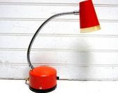 Vintage Lamp Orange Mid Century Goose Neck Desk Lamp