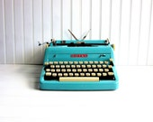 RESERVED for ef316 -- Vintage Typewriter Turquoise Royal Quiet DeLuxe Baby Blue Manual Typewriter
