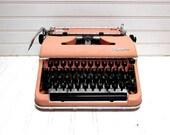 Vintage Typewriter Pink Olympia SM 3 Deluxe Manual Typewriter