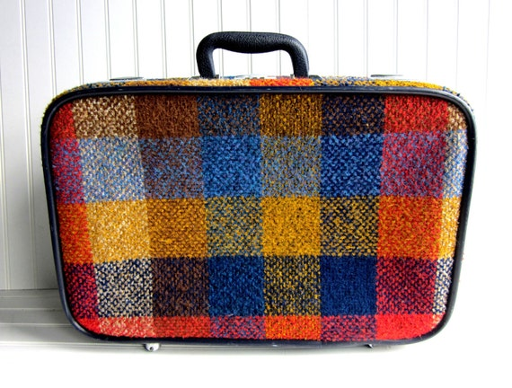 Vintage Suitcase Blue Yellow Red Mod Plaid Skyway Suitcase with Wheels