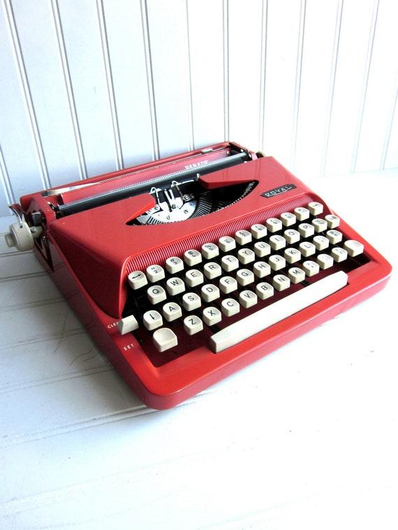 Vintage Typewriter Pink Red Royal Parade Manual Typewriter