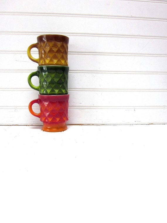Vintage Mug Anchor Hocking Diamond Mug Set of 3 Red Yellow Orange Green