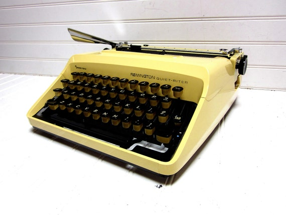 RESERVED for zxsuhail -- Vintage Typewriter Mustard Yellow Remington Quiet Riter Manual Typewriter Sperry Rand
