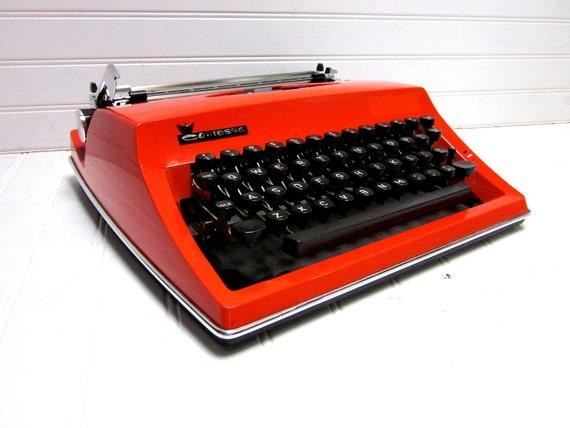 Vintage Typewriter Orange Adler Contessa DeLuxe Manual Typewriter