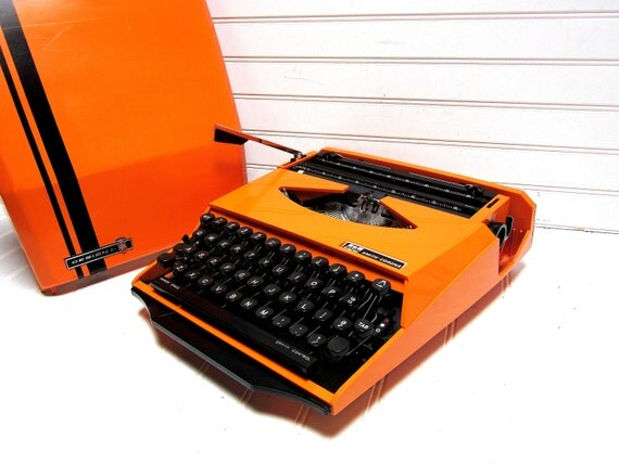 RESERVED for Ingela F. Hyatt -- Vintage Typewriter Orange Smith Corona Super G Manual Typewriter Ghia Design