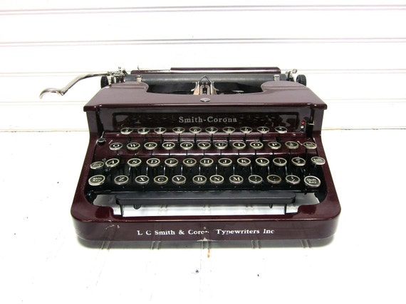 Vintage Typewriter Maroon Smith Corona Standard Manual Typewriter