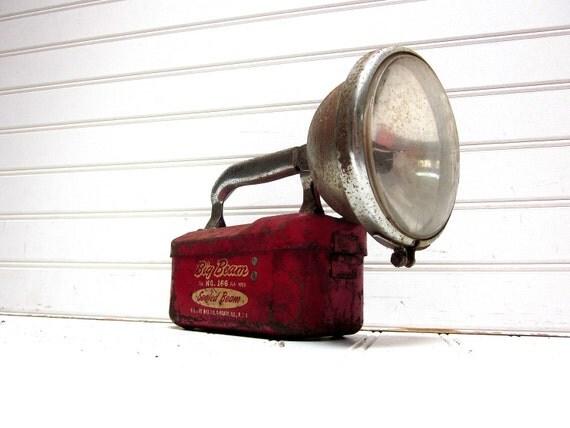 Vintage Flashlight Big Beam Red No. 166 Sealed Beam