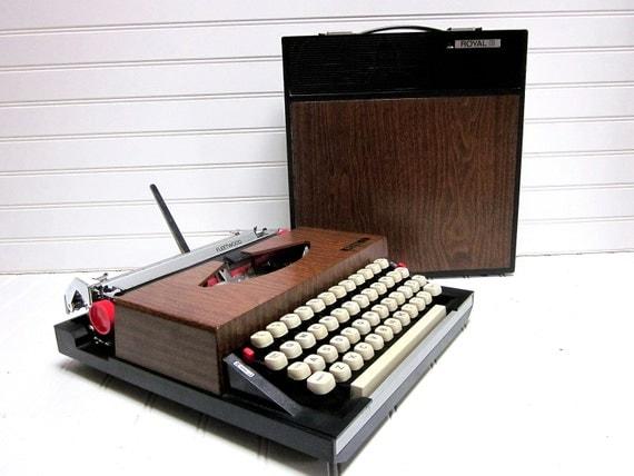 RESERVED for Bonnie -- Vintage Typewriter Royal Fleetwood Mid Century Faux Bois Woodgrain Transistor Radio Manual Typewriter