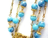 RESERVED Vintage ORNATE Blue Glass Beaded Multi Strand BOHEMIAN Necklace