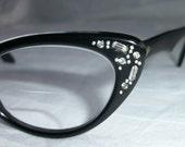 SALE Vintage 50s Rhinestone Cat-Eye Black Frame Glasses with Leather Case