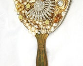 FEMININE-Vintage Hand Mirror-GRACE-UpCycled COTTAGE-Old Costume Jewelry