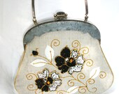 Vintage Grey Lucite Frame - Beaded Fabric Purse - Hand Bag - Project - Photo Prop - Supply