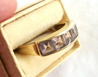 Vintage Gold 10kp Channel Set Princess Cut Amethyst Ring 5 Stone