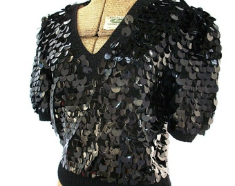 Vintage Over sized Sequins Sweater Blouse - Black Dazzling Top