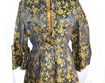 Exotic Blue and Gold House Dress ~ Button Front  S XS - Amazing Flowers ~ Vintage