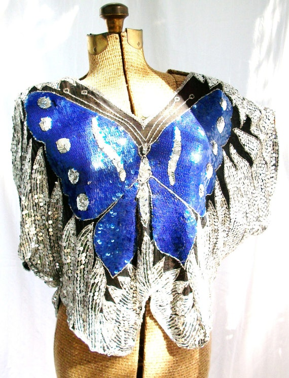 Flutter & Sparkle BUTTERFLY Sequin Beaded SILK Blouse Black Silver Blue sz M