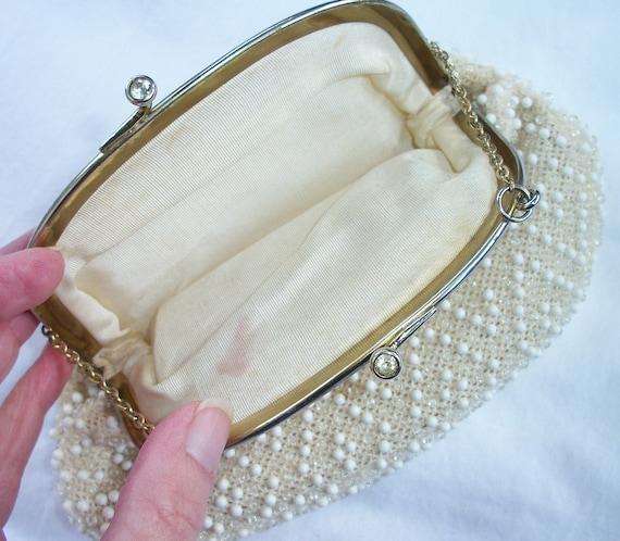 Vintage Bride Ivory Cream White Beaded Purse SIMPLY Feminine Rhinestone Twist top