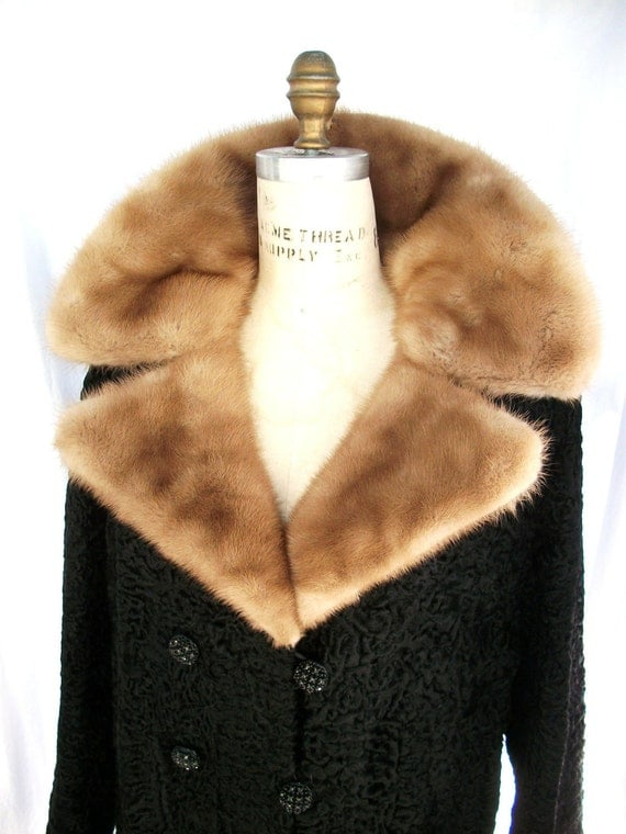 Vintage Mink and Black Curly Lamb Fur Coat Rhinestone Buttons