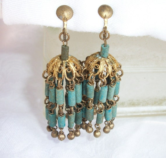 RESERVED Vintage Egyptian Revival Faience Turquoise Clay Tubular Beads Chandelier Earrings HTF