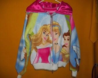 Custom Made Hoodie, Disney Princess License, Lined in Pink for Teenage Girl