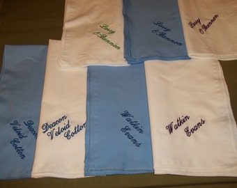 Hand Made ,Monogrammed Hankerchiefs with Full Name and Title