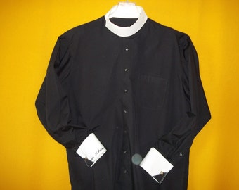 Clergy shirt etsy for Snap tab collar shirt