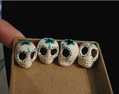 Reduced Autumn Equinox Sale...4 clay SUGAR SKULLS Hand Painted shrine DIY (gift bagged with signed certificate)