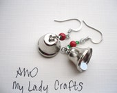 Silver Bell earrings w/red & green