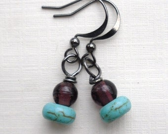 Turquoise and Purple glass simple earrings