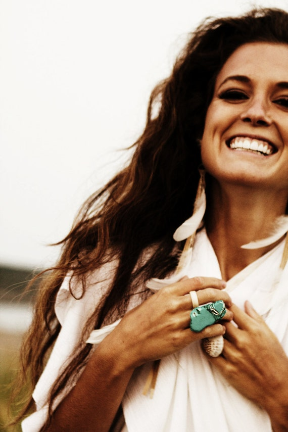Summer Goddess - Chunky Turquoise Howlite Ring