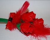 Duct Tape Rose and Feather Bouquet